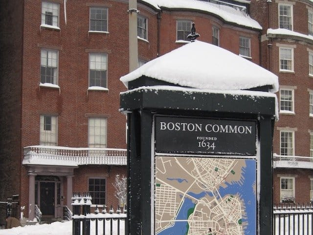 Boston Common after snow