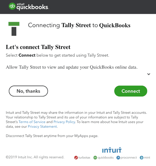 QuickBooks Online connection to Tally Street
