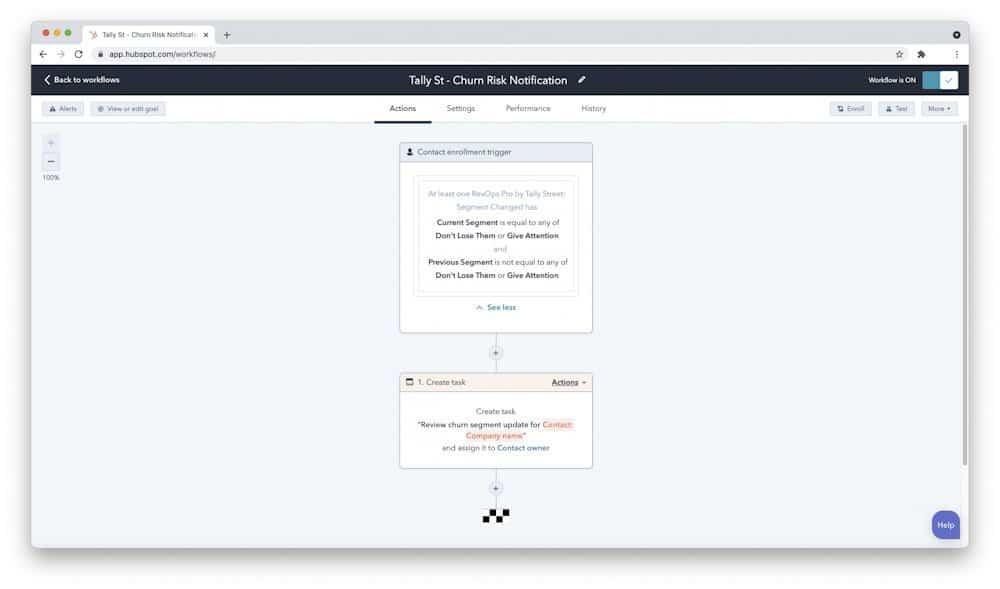 HubSpot task using customer data from Tally Street RevOps