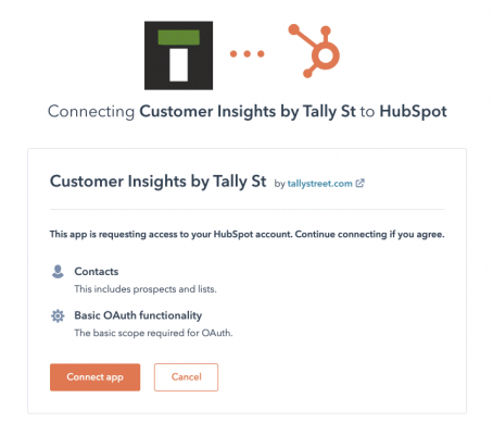 Authorization to connect Tally Street to HubSpot